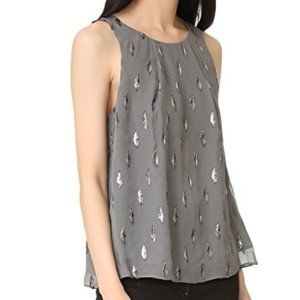 NWT Joie Kastra Silk Metallic Embroidered Top M